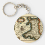 Wales - Historic 17th Century Map of Wales Key Chain