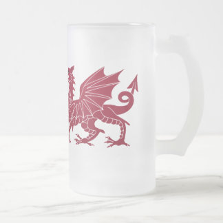 Wales Red Medieval Dragon Glass Beer Mug