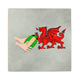 Wales Rugby Team  Dragon With Rugby Ball Maple Wood Coaster