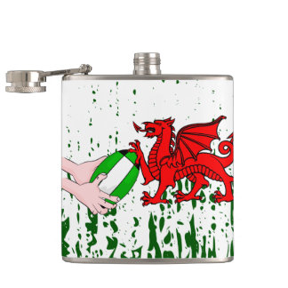 Wales Rugby Team Supporters Flag With Ball Hip Flask