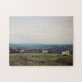 Wales Vintage View Landscape Sheep Welsh Horizon Jigsaw Puzzle