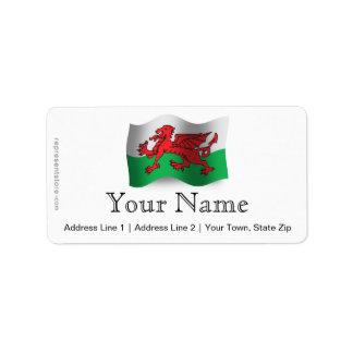 Wales Waving Flag Label