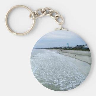 Walk Along Oak Island Seashore Basic Round Button Keychain