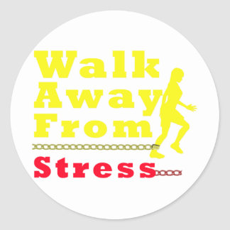 Walk Away From Stress Classic Round Sticker