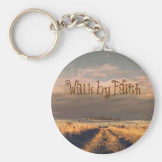 Walk by Faith Bible Verse Scripture Keychain