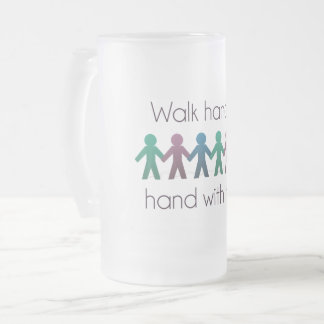 Walk Hand in Hand 16 oz Frosted Glass Mug