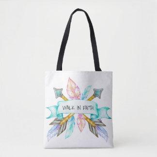 Walk In Faith Boho Arrow Tote Bag