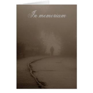 Walk in the fog in memoriam greeting card