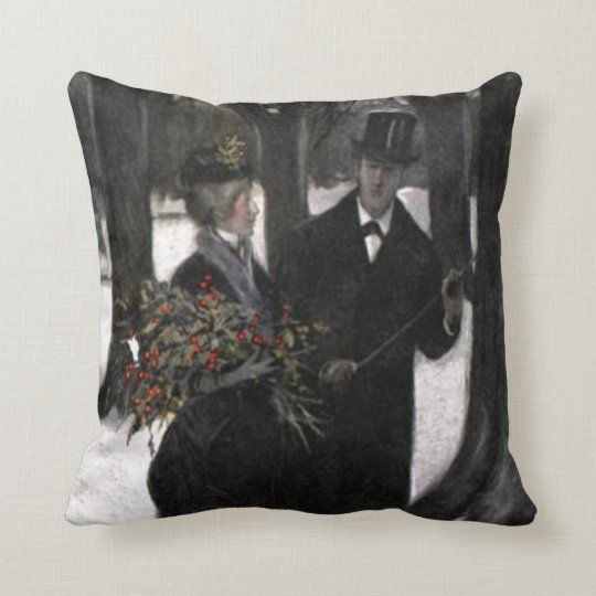 Walk in The Snow With Holly Throw Pillow