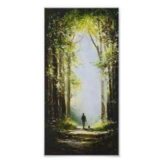 Walk in the wood oil painting poster