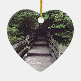 walk into the woods ceramic heart ornament