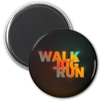 Walk Jog Run Connected Rainbow Type 2 Inch Round Magnet