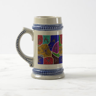 Walk Of The Spider Colorful Dot Art Beer Stein