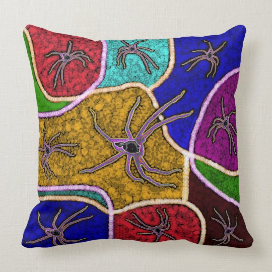 Walk Of The Spider Colourful Dots Big Throw Throw Pillow