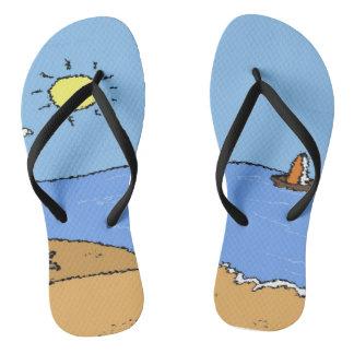 Walk on the Beach by #TakshatiArtStudio Flip Flops