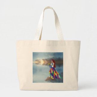 Walk on the clouds large tote bag