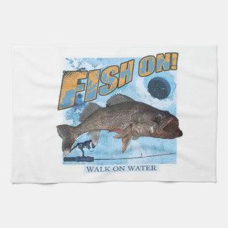 Walk on water walleye kitchen towel