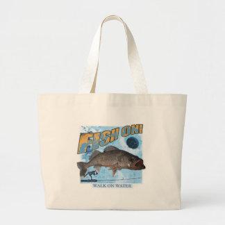 Walk on water walleye large tote bag