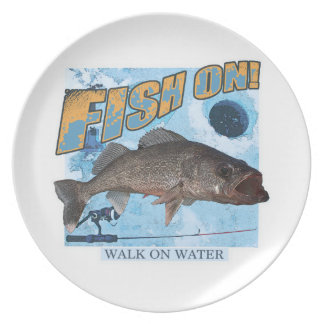 Walk on water walleye party plates