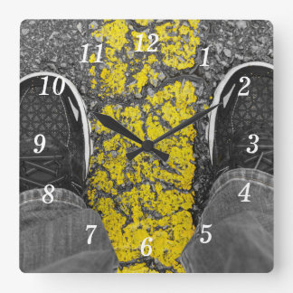 Walk The Line Square Wall Clock
