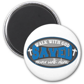 Walk With God(Blue) 2 Inch Round Magnet