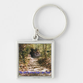 Walk with God Silver-Colored Square Keychain