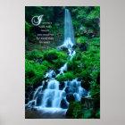Walk with Nature Beautiful Waterfall Green Nature Poster