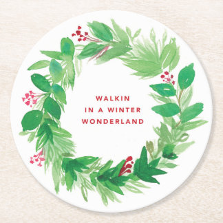 Walkin in a Winter Wonderland Watercolor Wreath Round Paper Coaster