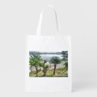 Walking along the lake reusable grocery bag