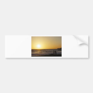 Walking at Sunset Bumper Sticker