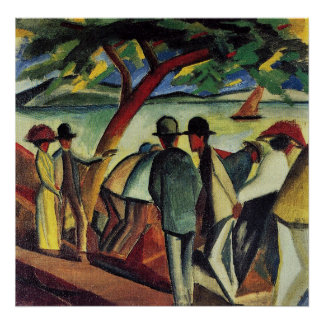 Walking at the lake I by August Macke Poster