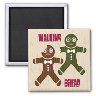 Walking Bread Square Magnet