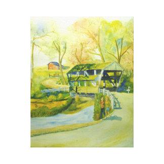 Walking Bridges , Watercolor Canvas Print