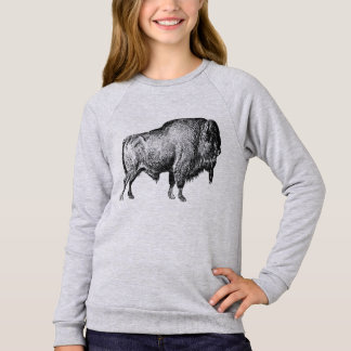 Walking Buffalo Long Sleeved Girls Tee