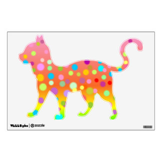 Walking Cat A1 with Colorful Dots 1 Wall Sticker