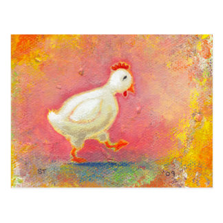 Walking chicken needs solitude - original art postcard