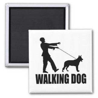 Walking Dog (zombie) Square Magnet