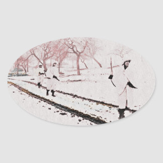 Walking Down Bastogne Road Oval Sticker