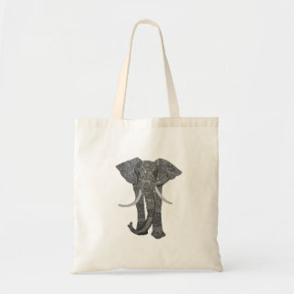 Walking Elephant with patterns black and white Tote Bag