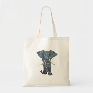 Walking Elephant with patterns Blue Tote Bag