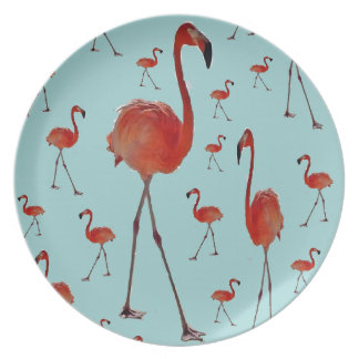 Walking flamingoes party plate