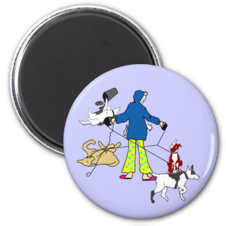 Walking Flyball Dogs 2 Inch Round Magnet