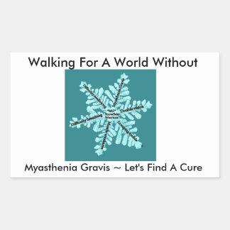 Walking For A World W/out Myasthenia Gravis Rectangular Stickers