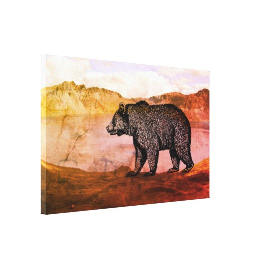 Walking Grizzly bear Canvas Art