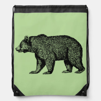 Walking Grizzly Bear Drawstring Bag