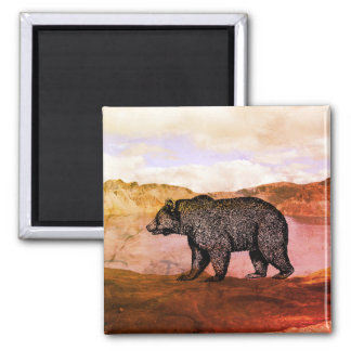 Walking Grizzly Bear In Wilderness Magnet