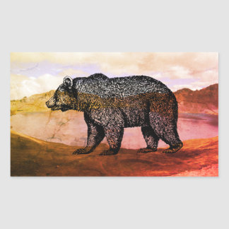 Walking Grizzly Bear Stickers