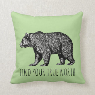WALKING GRIZZLY BEAR TRUE NORTH PILLOW