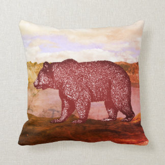 Walking Grizzly Bear Wilderness Throw Pillow