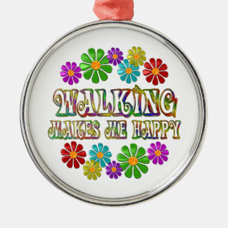 Walking Happy Silver-Colored Round Ornament